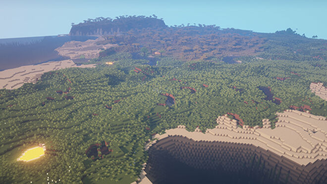 A Minecraft screenshot of a new world created with the seed -1389577003656398696.