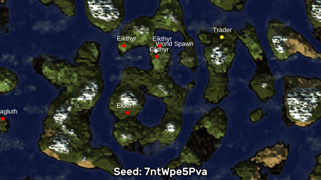 A screenshot of one of the best Valheim seeds we've found, using the Valheim World Generator tool. Seed: 7ntWpe5Pva