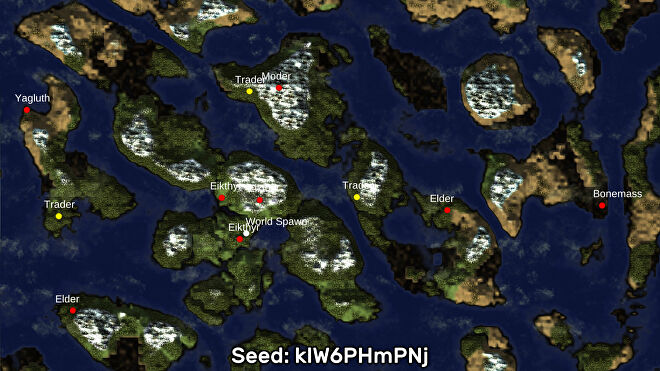 A screenshot of one of the best Valheim seeds we've found, using the Valheim World Generator tool. Seed: klW6PHmPNj