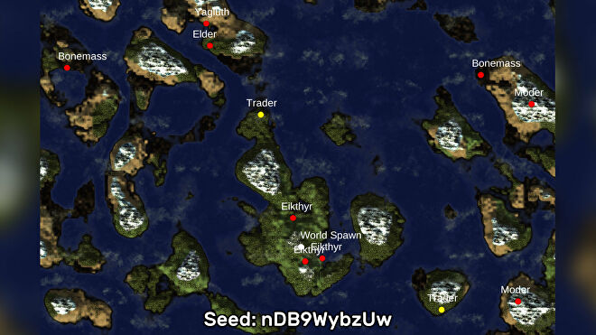 A screenshot of one of the best Valheim seeds we've found, using the Valheim World Generator tool. Seed: nDB9WybzUw
