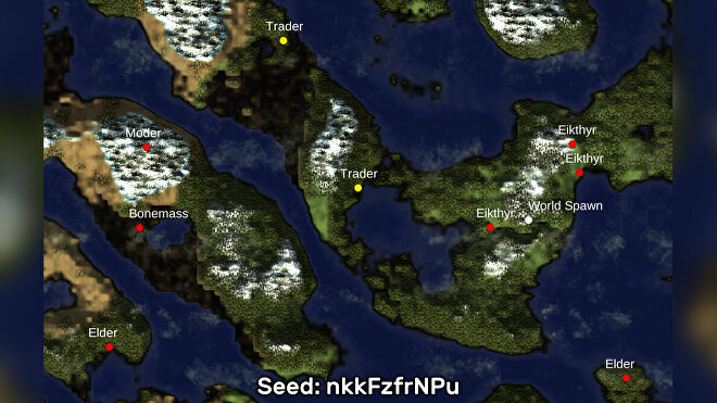 A screenshot of one of the best Valheim seeds we've found, using the Valheim World Generator tool. Seed: nkkFzfrNPu