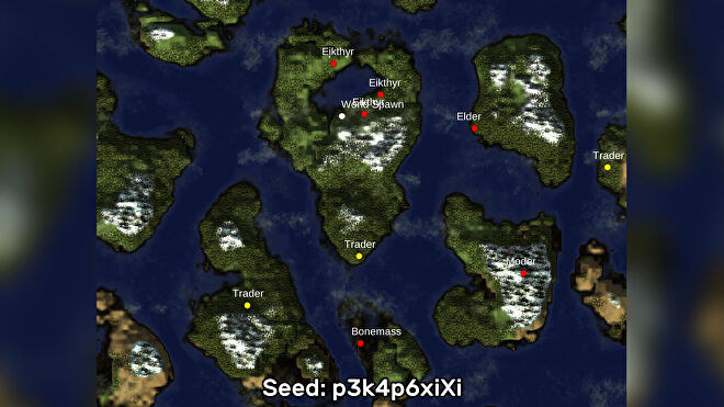A screenshot of one of the best Valheim seeds we've found, using the Valheim World Generator tool. Seed: p3k4p6xiXi