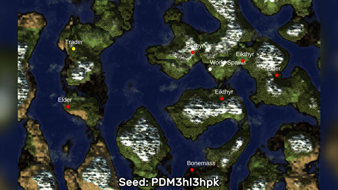 A screenshot of one of the best Valheim seeds we've found, using the Valheim World Generator tool. Seed: PDM3hl3hpk