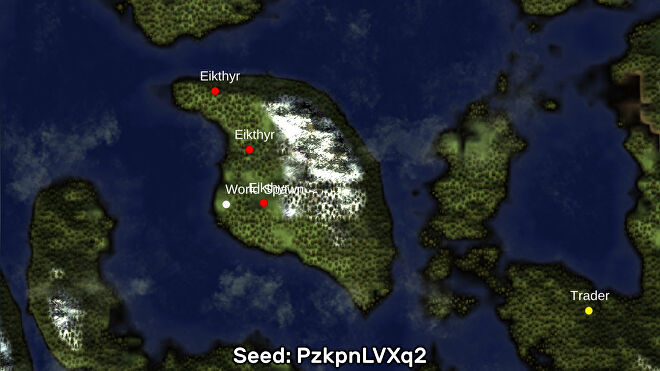 A screenshot of one of the best Valheim seeds we've found, using the Valheim World Generator tool. Seed: PzkpnLVXq2