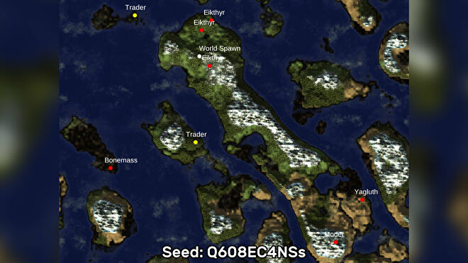 A screenshot of one of the best Valheim seeds we've found, using the Valheim World Generator tool. Seed: Q608EC4NSs