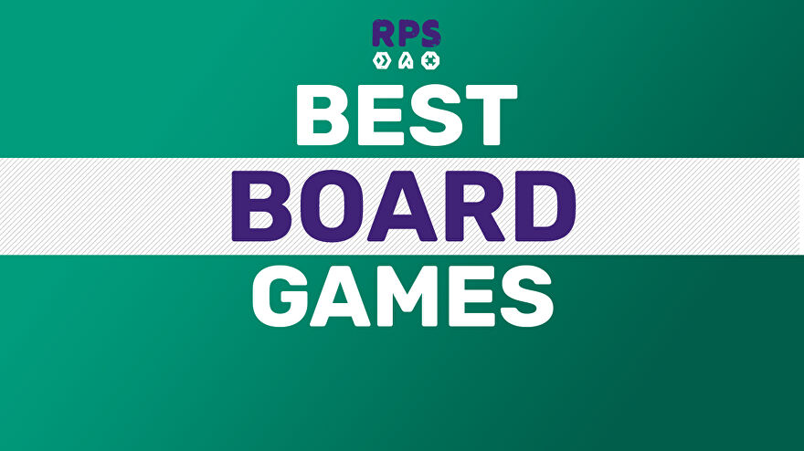 A sea green background with the title BEST BOARD GAMES on top, underneath a small Rock Paper Shotgun logo.