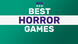 A green background with BEST HORROR GAMES written on top, in white and purple, in a nice smart rounded font.