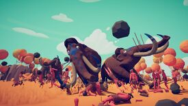 Wobbly mammoths fighting caveman in a Totally Accurate Battle Simulator screenshot.