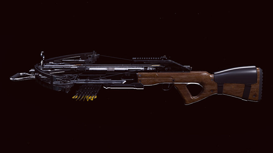 A screenshot of the R1 Shadowhunter Crossbow as it appears in the Call of Duty: Warzone Gunsmith.