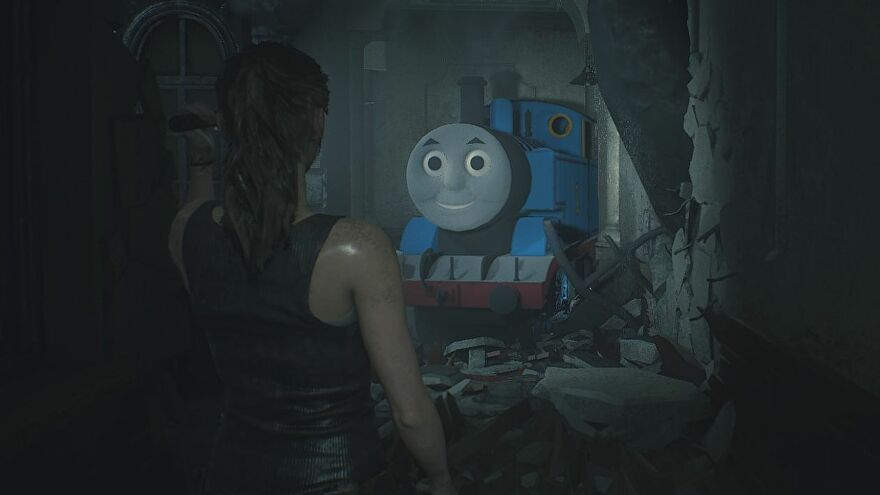 Thomas the Tank Engine advancing in a menacing manner in Resident Evil 2 (courtesy of a mod)