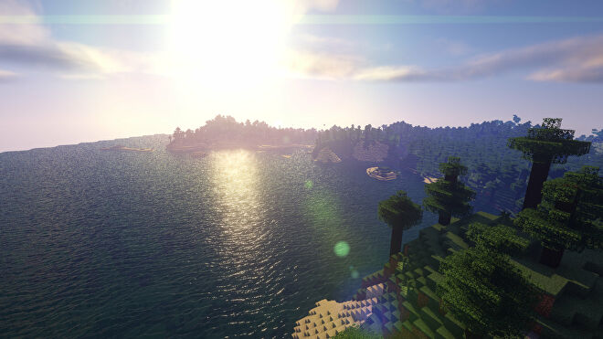 A Minecraft screenshot of a landscape with Beyond Belief Shaders enabled.