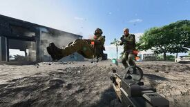 A man's corpse hovering as though he was still sat in a tank in Battlefield 2042.