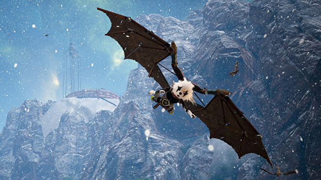 A Biomutant screenshot of the main character using wings to glide down from a mountaintop.