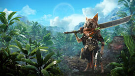 Promotional Biomutant art with the main character in the foreground holding a large blade, in front of a sprawling forest.