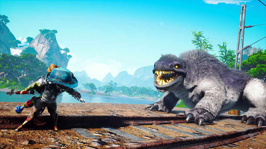 A Biomutant screenshot of the main character facing off against a large predator.