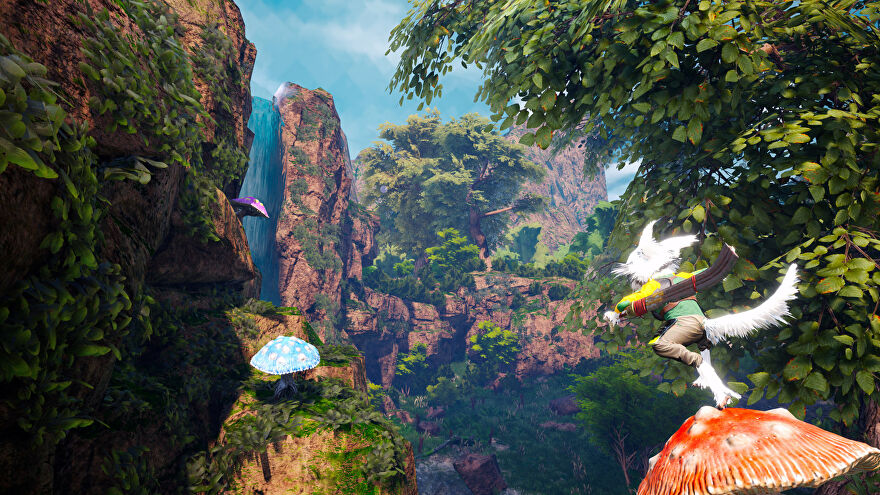 A Biomutant screenshot of the main character bouncing off the head of a toadstool in a forest.