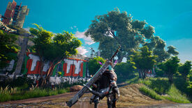 A Biomutant screenshot of the main character looking up at the walls of a tribe outpost.