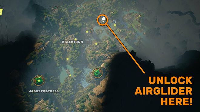 """A screenshot of part of the Biomutant map, with a """"mirage"""" side quest location highlighted where you can unlock the Airglider automaton upgrade."""