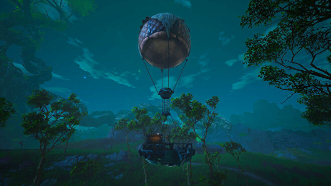 A Biomutant screenshot of a hot air balloon at night. These balloons mark the locations of Upgrade Benches scattered across the world.