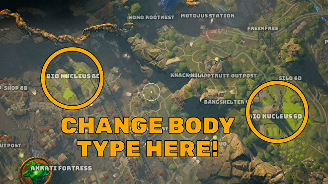 A screenshot of part of the Biomutant map, with the locations where you can go to change your body type highlighted.