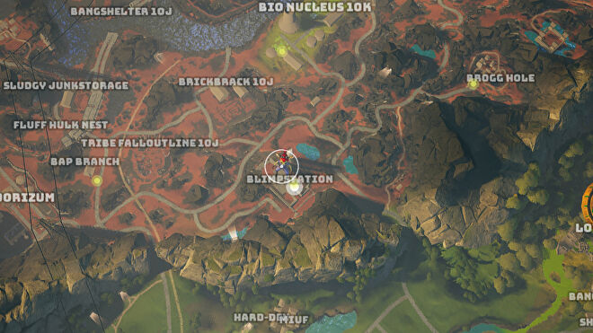 A screenshot of part of the Biomutant map, with the Blimpstation where Lobo resides highlighted.