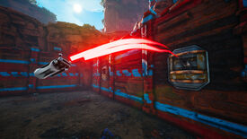 A Biomutant screenshot of a boomhut in an outpost firing a grenade at the player.