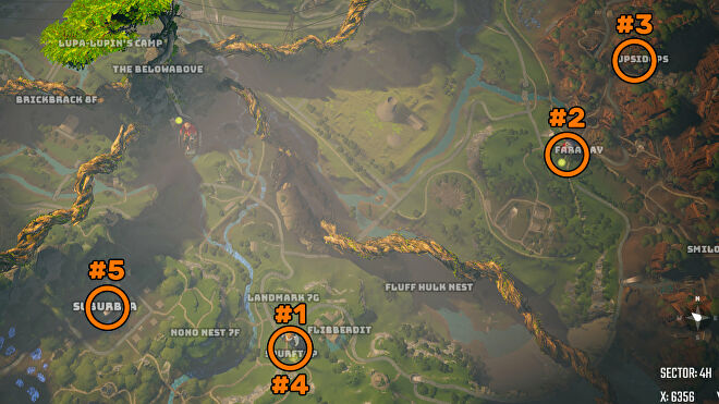 A screenshot of part of the Biomutant map, annotated with the steps to unlock the ability to change your appearance.