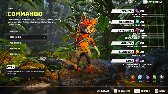 A Biomutant screenshot of the character creation and class selection screen, with the Commando class selected.
