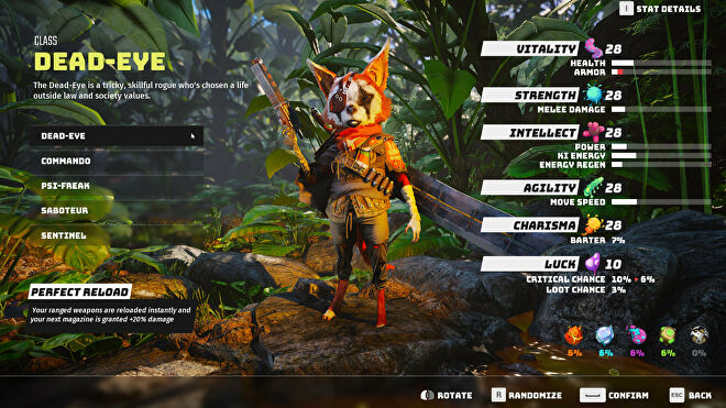 A Biomutant screenshot of the character creation and class selection screen, with the Dead-Eye class selected.