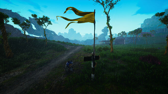 A Biomutant screenshot of a fast travel point with the character standing beneath it.