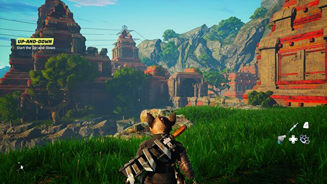 A leafy landscape in Biomutant using High graphics settings