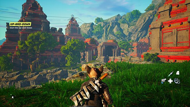 A leafy landscape in Biomutant using Low graphics settings