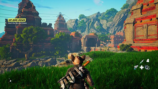 A leafy landscape in Biomutant using Max graphics settings