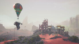 A Biomutant screenshot of the Gullblimp anchored outside an outpost.