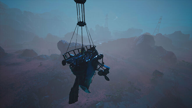 A Biomutant screenshot of the player piloting a Gullblimp across the Kluppy Dunes at night.