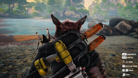 A Biomutant screenshot of the player using the in-game Photo Mode to take a photo from behind the character.