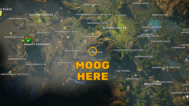 A screenshot of part of the Biomutant map, with the location of the character Moog highlighted.