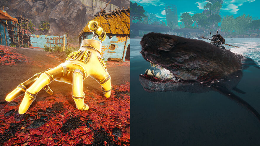 Two Biomutant screenshots of different mount types. On the left is the Mekafingro, and on the right is the Pee-Wee Gargantua.