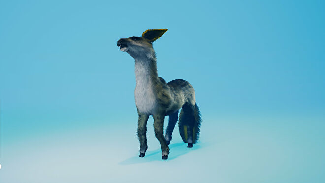 A Biomutant screenshot of the Old Amber Gnoat mount.