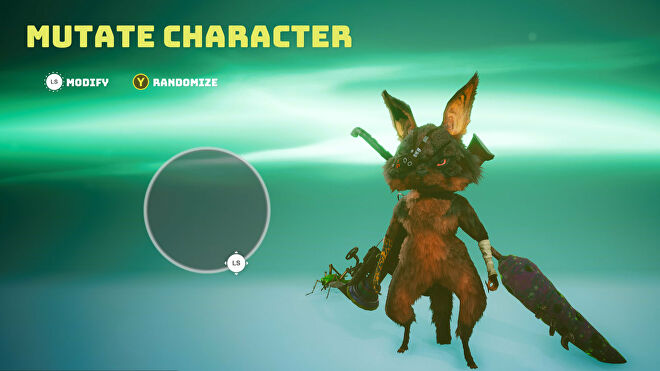 A Biomutant screenshot of the Mutate Character screen where you can change the body type of your character.