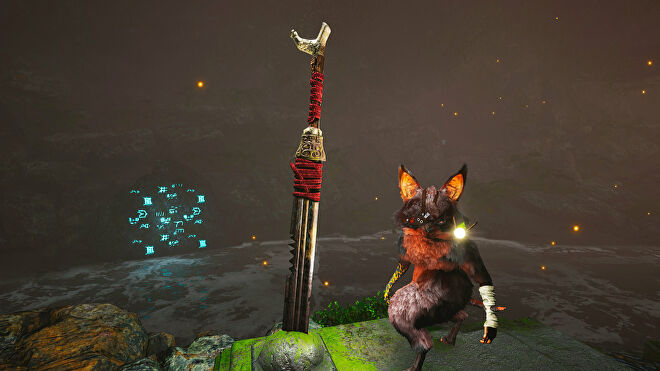 A Biomutant screenshot of the Pri Murgel Sword, which can be found inside the Riddleroom.
