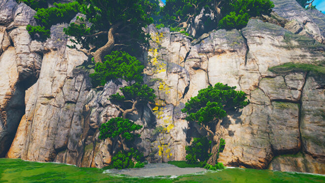 A Biomutant screenshot of the climbing spots at the corner of the map which lead up to the secret Riddleroom.