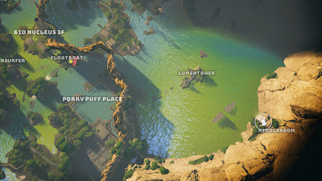 A screenshot of part of the Biomutant map showing the location of the Riddleroom and the Lumentower.