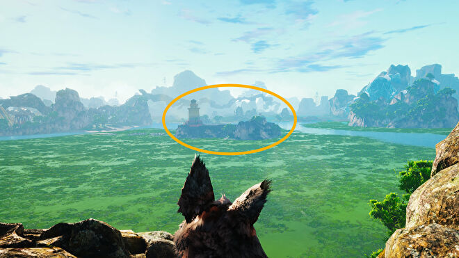 A Biomutant screenshot of the Lumentower as seen from the location of the Riddleroom.