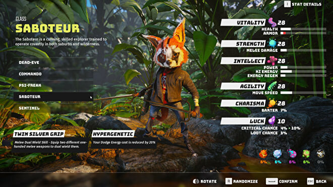 A Biomutant screenshot of the character creation and class selection screen, with the Saboteur class selected.
