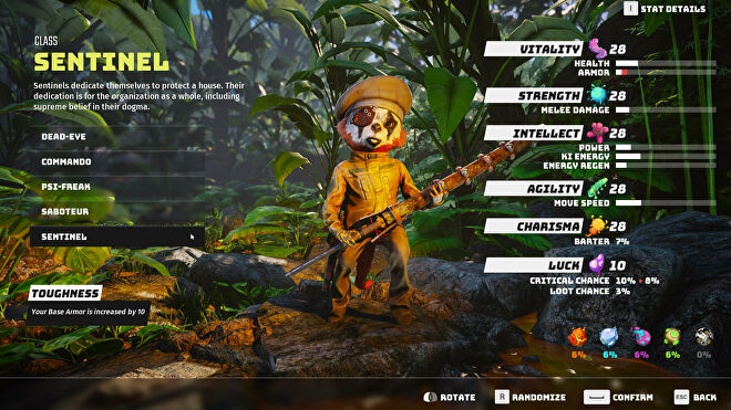 A Biomutant screenshot of the character creation and class selection screen, with the Sentinel class selected.