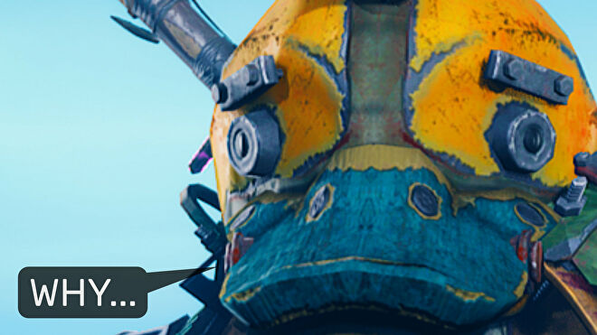 """A close-up screenshot of the main character in Biomutant wearing a duck helmet, with a speech bubble next to them that says """"Why...""""."""