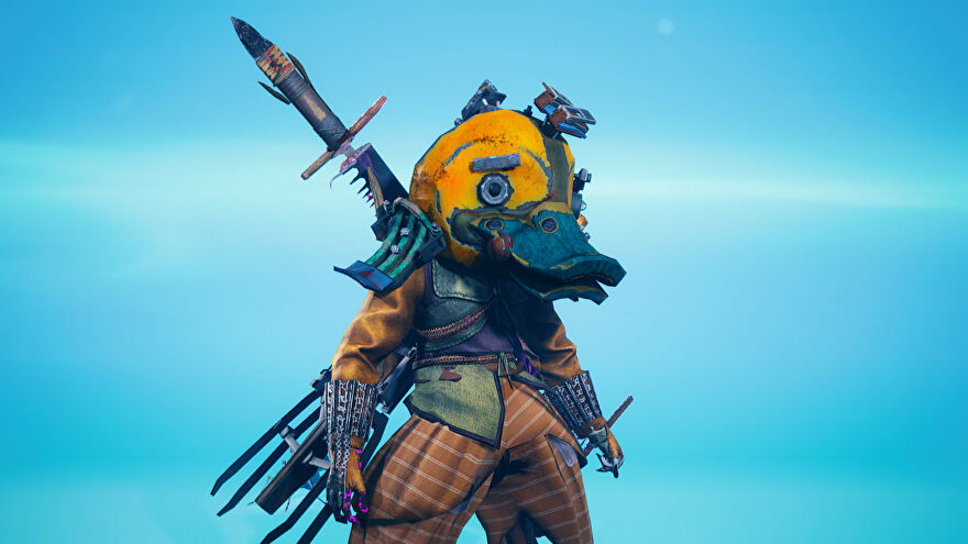 A screenshot of the main character in Biomutant in the Gear screen, with the UI disabled.