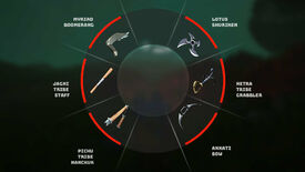A Biomutant screenshot of the weapon selection wheel with each of the six unique tribe weapons displayed.