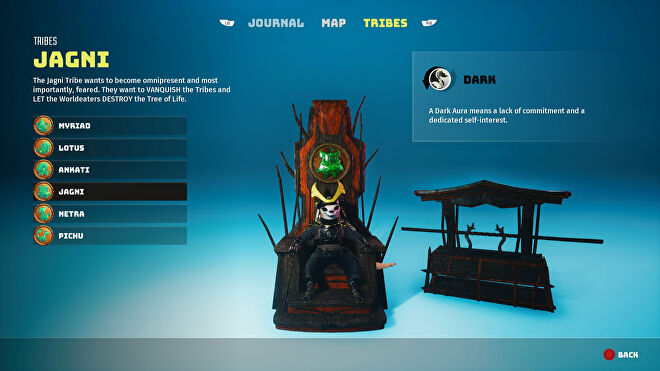 A Biomutant screenshot of the Tribes screen in the pause menu, showcasing the Jagni tribe.